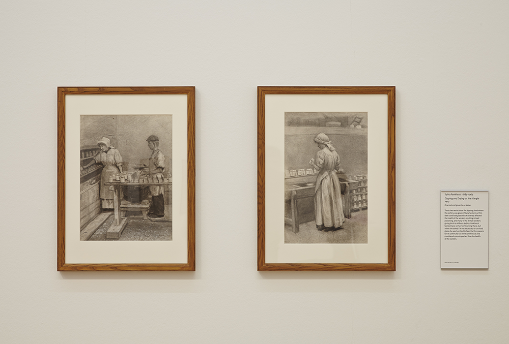 Examples from Sylvia Pankhurst's 'Women Workers of England' - Dipping and Drying on the Mangle, charcoal and gouache on paper, 1907