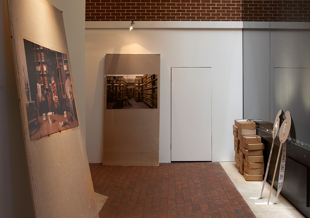 Installation shot of 'The Re-Inugoral Meeting of The Emily Davison Lodge 2010' (2 images) and also showing archive boxes of chapbooks for visitors to take away.