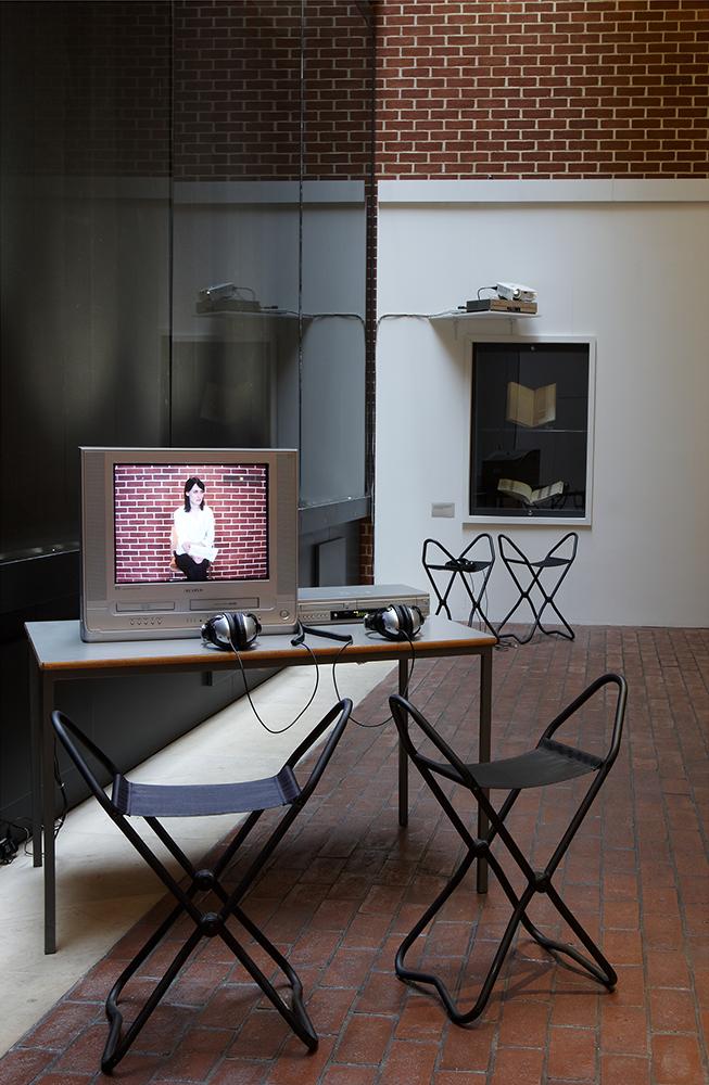 Installation shot of video work 'The Argument of the Broken Window Pane'
