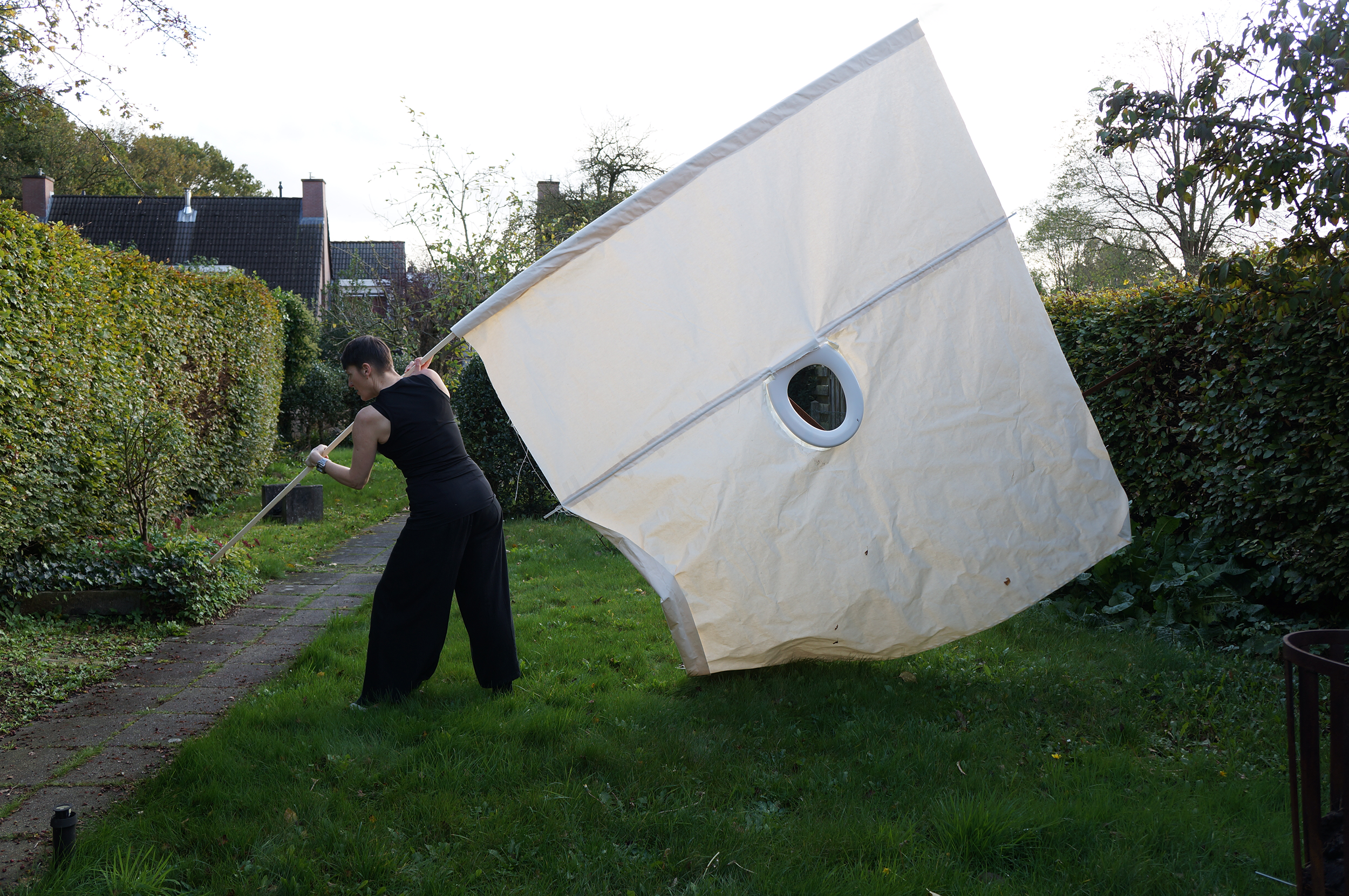 Diagram in Homage to Artist Substance V   (activated) , canvas and toilet seat, 200 x 280 cm  Photo credit: Harald den Breejen
