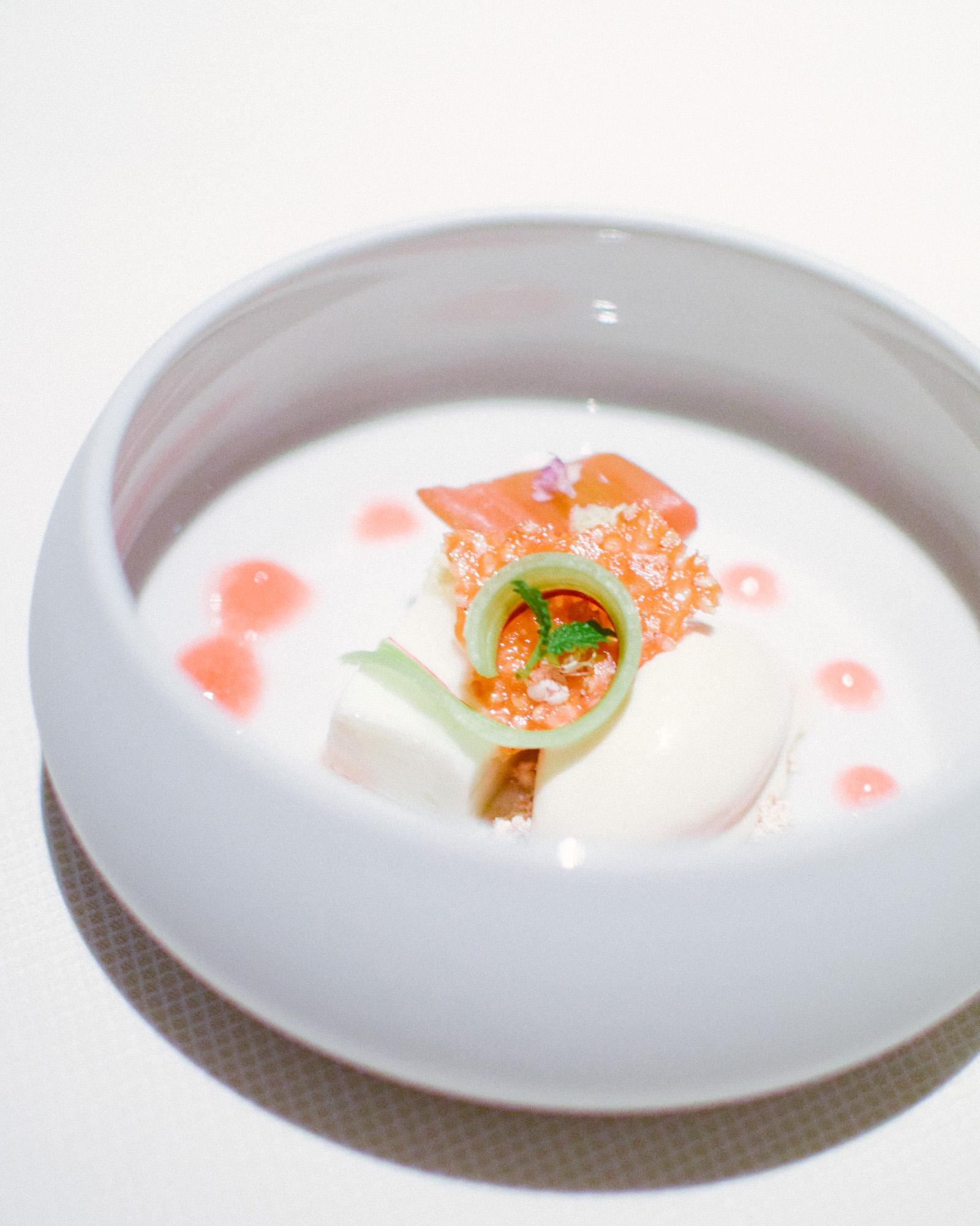 Thirteenth Course: Poached Rhubarb, Goat's Milk, Sesame