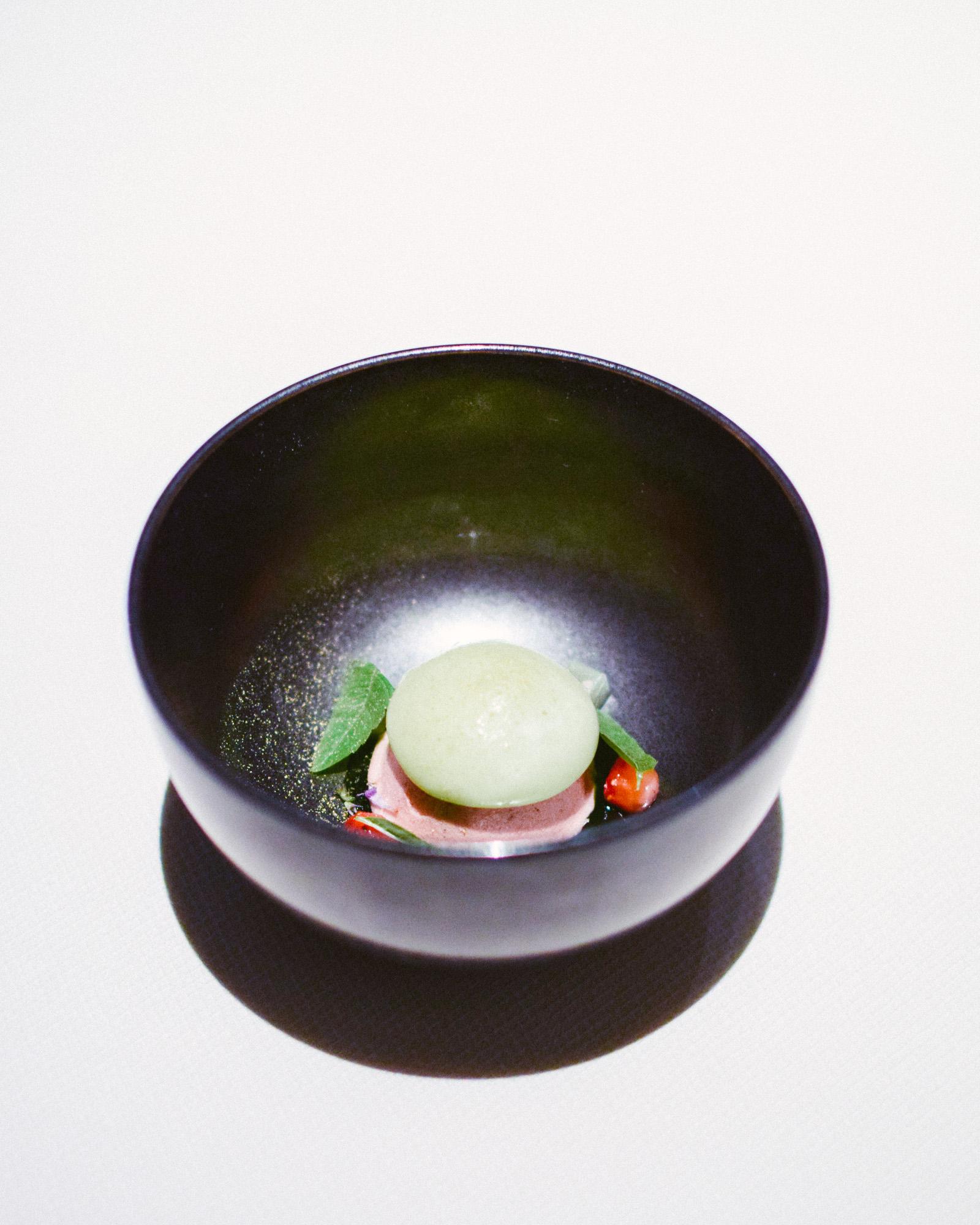Twelfth Course: Roasted Strawberries, Cucumber, Lemon Balm