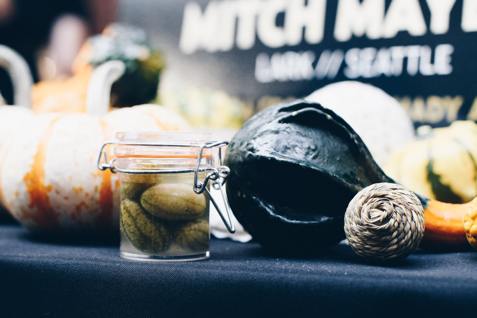 5. Mitch Mayers' Mini Pickles - There's something undeniably appealing about mini foods, and Chef Mitch Mayers' chubby little dills (served aside SPAM headcheese, blood rye bread, sauerkraut, and racelette cheese topped with a teensy quail egg and Russian hollandaise) were too cute not to grab my attention. Perhaps the Seattle-based chef had foreseen their appeal, because he was so kind as to provide tiny take-home jars of the little guys for us admirers to snack on later.