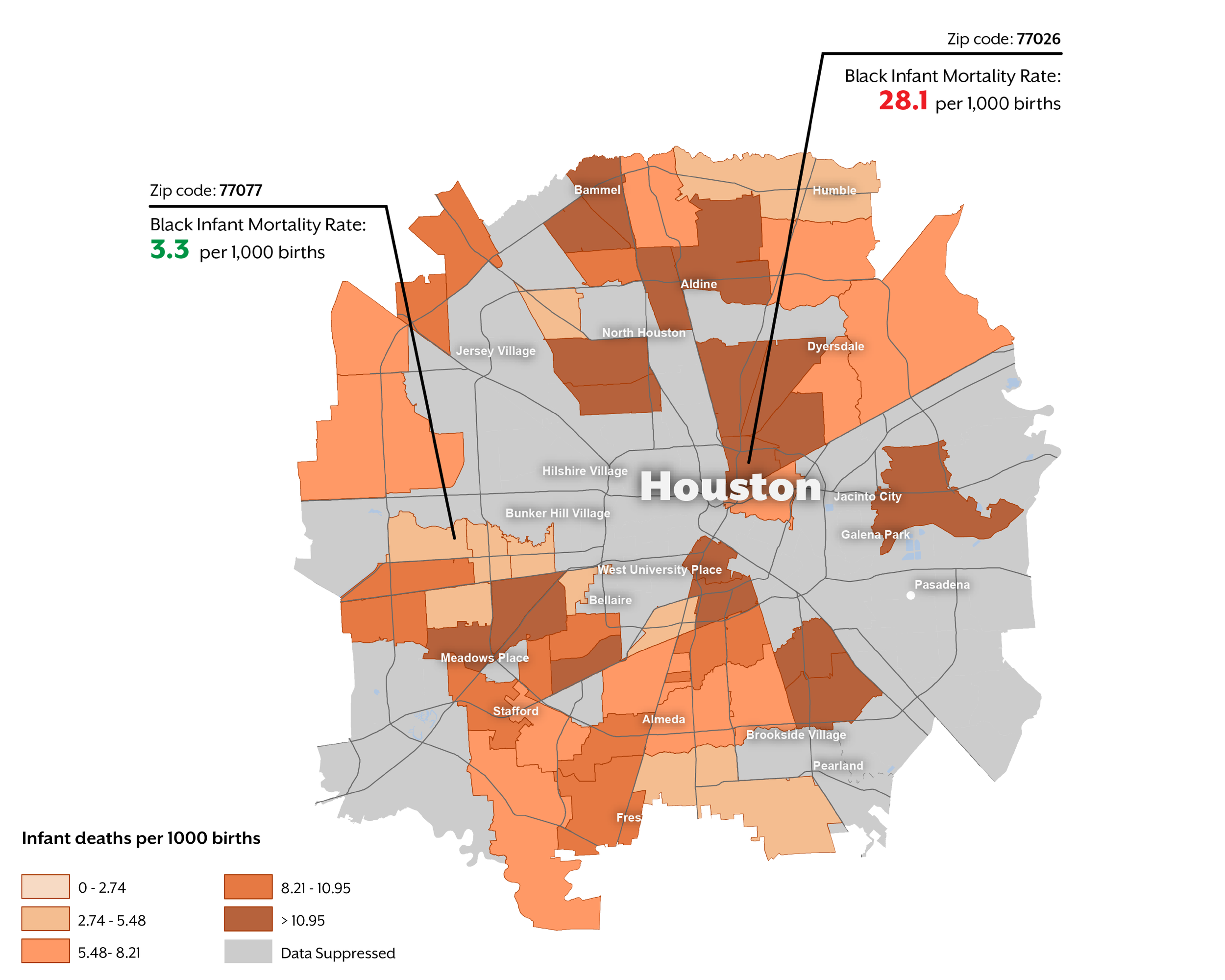 Map of Houston IMR rate by zipcode