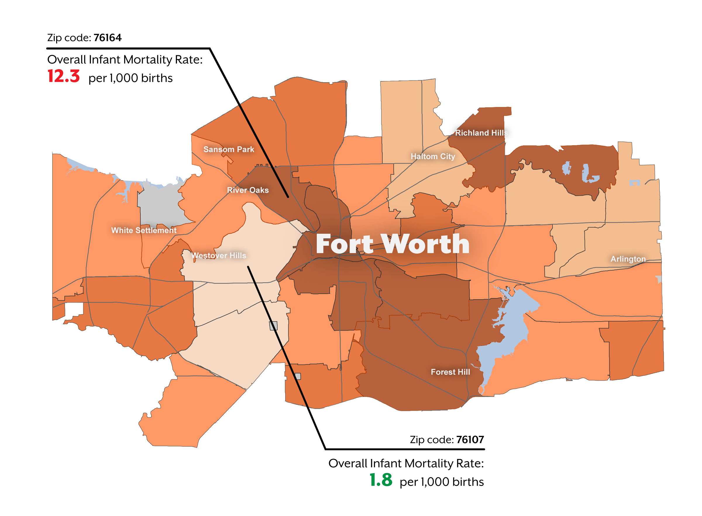 Map of forth worth IMR rate by zipcode