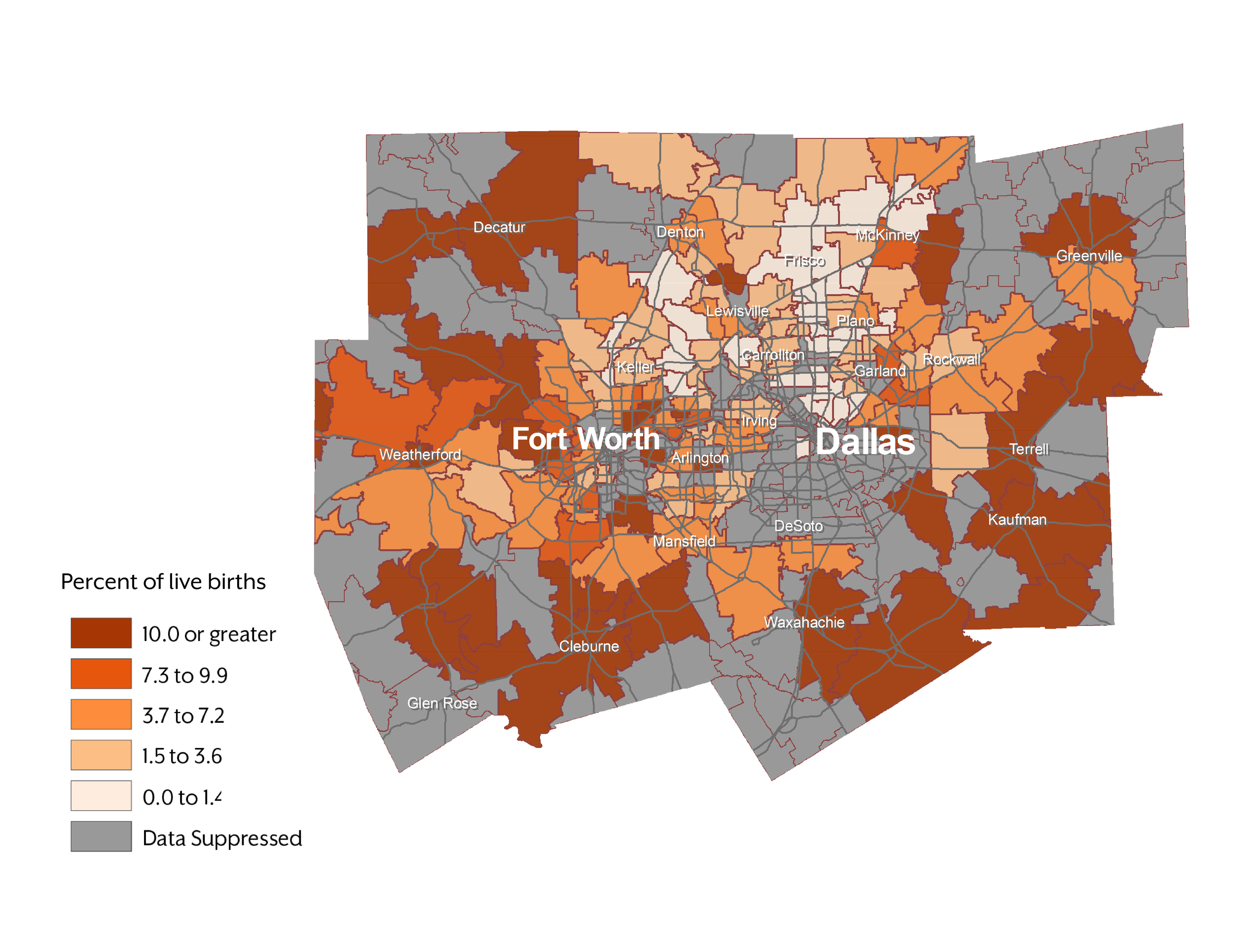 Figure 2.  Percent of Live Births to White Mothers Who Smoked During Pregnancy: Dallas/Fort Worth Metropolitan Area, Texas (2015)