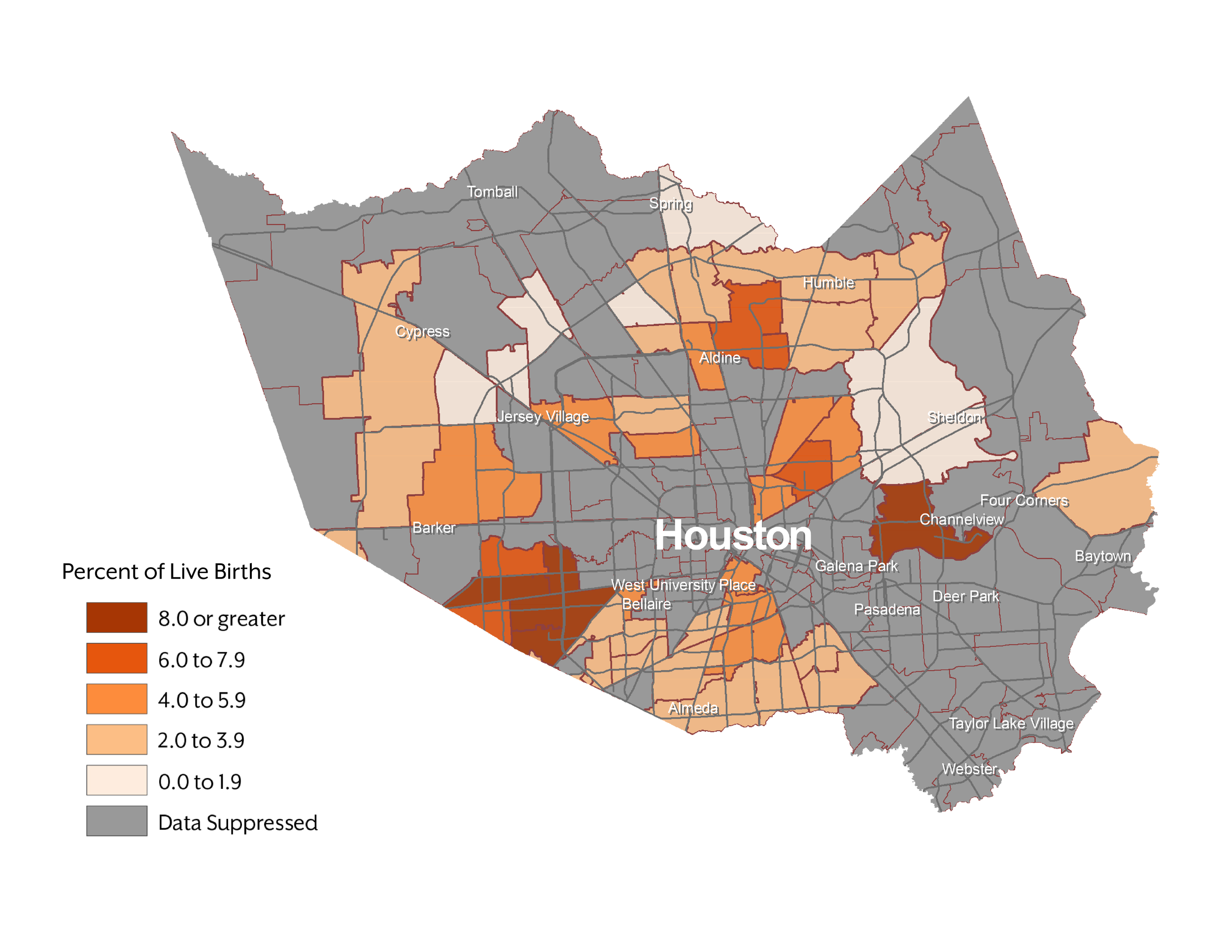 Figure 3.  Percent of Live Births to Black Mothers With No Reported Prenatal Care: Harris County, Texas (2015)