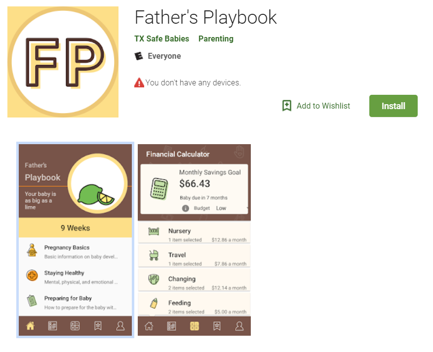 The code to  download the pilot version  of the Father's Playbook app is PIP2018.