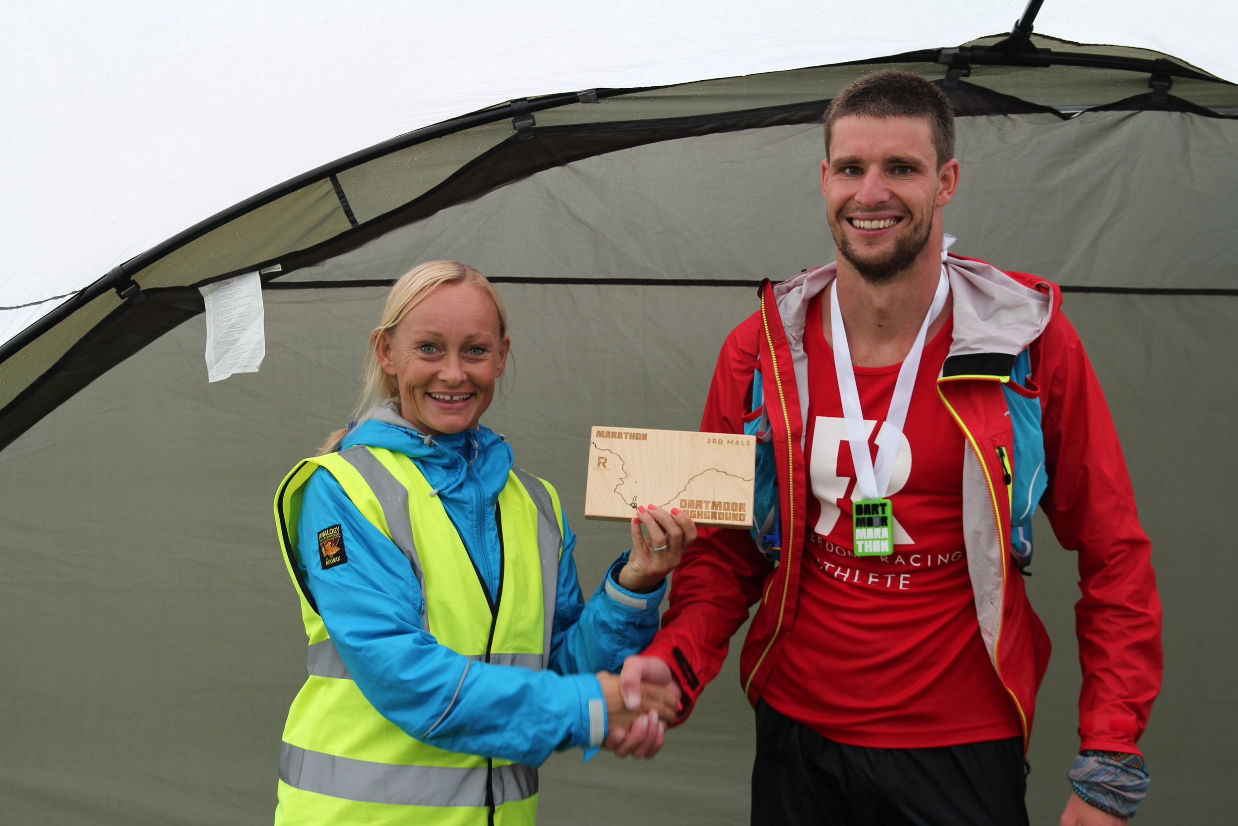 A wet and wild Dartmoor Marathon finisher