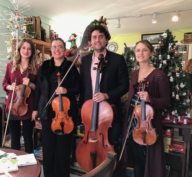 On December 4th, 2016 we performed in the Grafton Country Store during Grafton Celebrates the Holidays! L-R: Brittany Stockwell, Sylvia DiCrescentis, Owen Cooper, Kathryn Hadded.