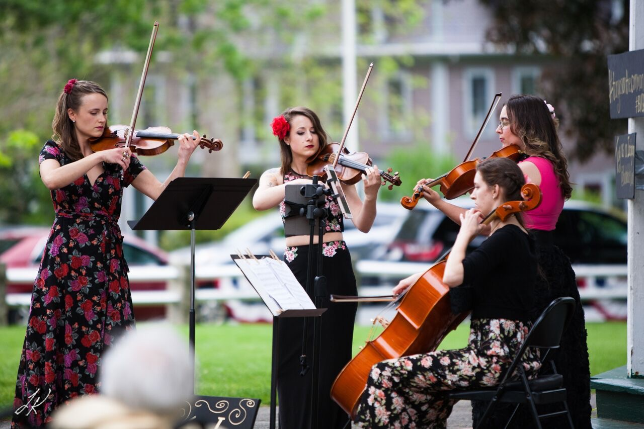 The BVQ during their first community concert on June 4th, 2017 on the Grafton Town Common! L-R: Kathryn Haddad, Brittany Stockwell, Sylvia DiCrescentis, Jamie Thiesing.