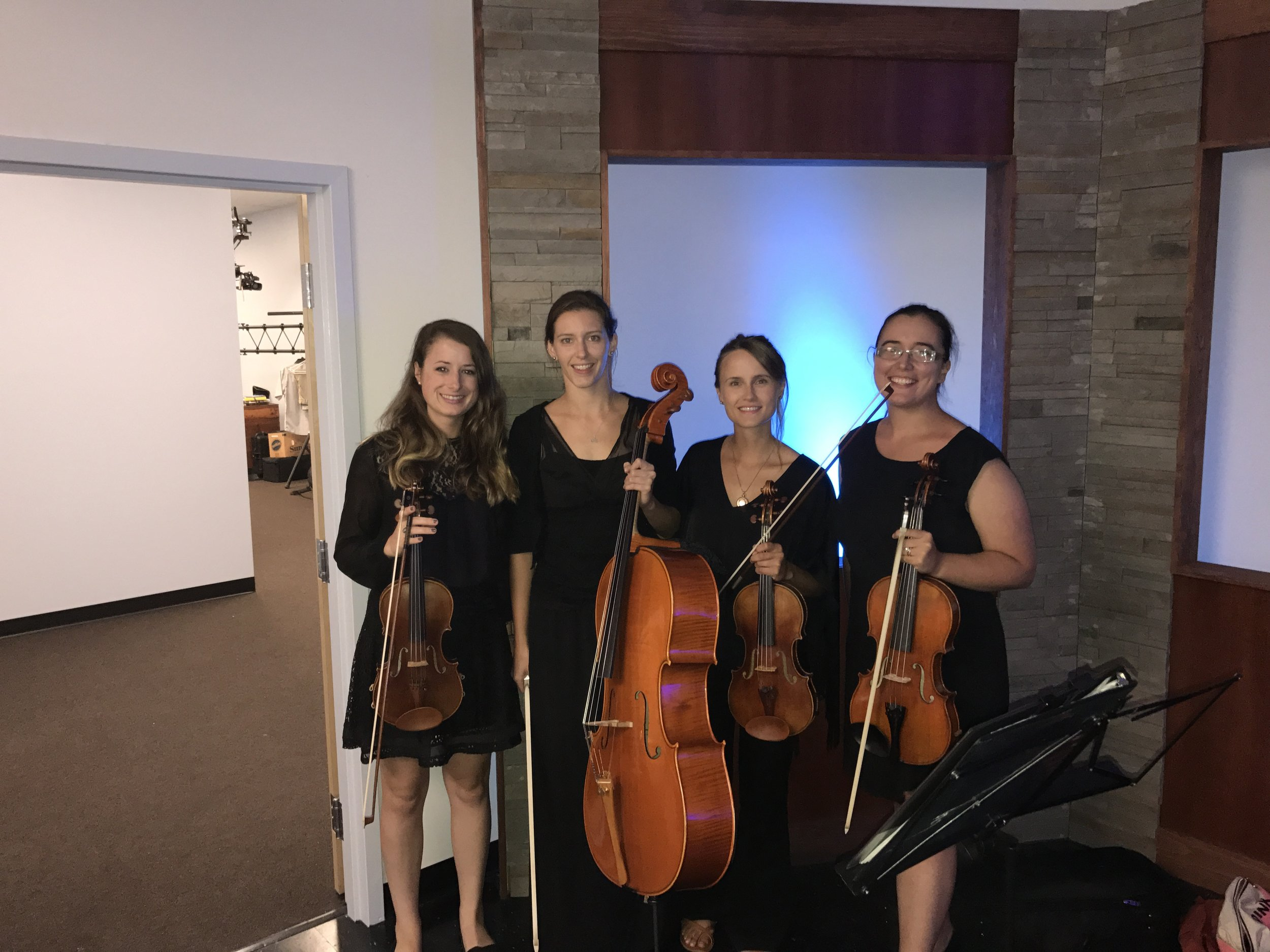 Before our performance on the Milford Youth Center Telethon on Milford Public TV. L-R: Brittany Stockwell, Jamie Thiesing, Kathryn Haddad, Sylvia DiCrescentis.
