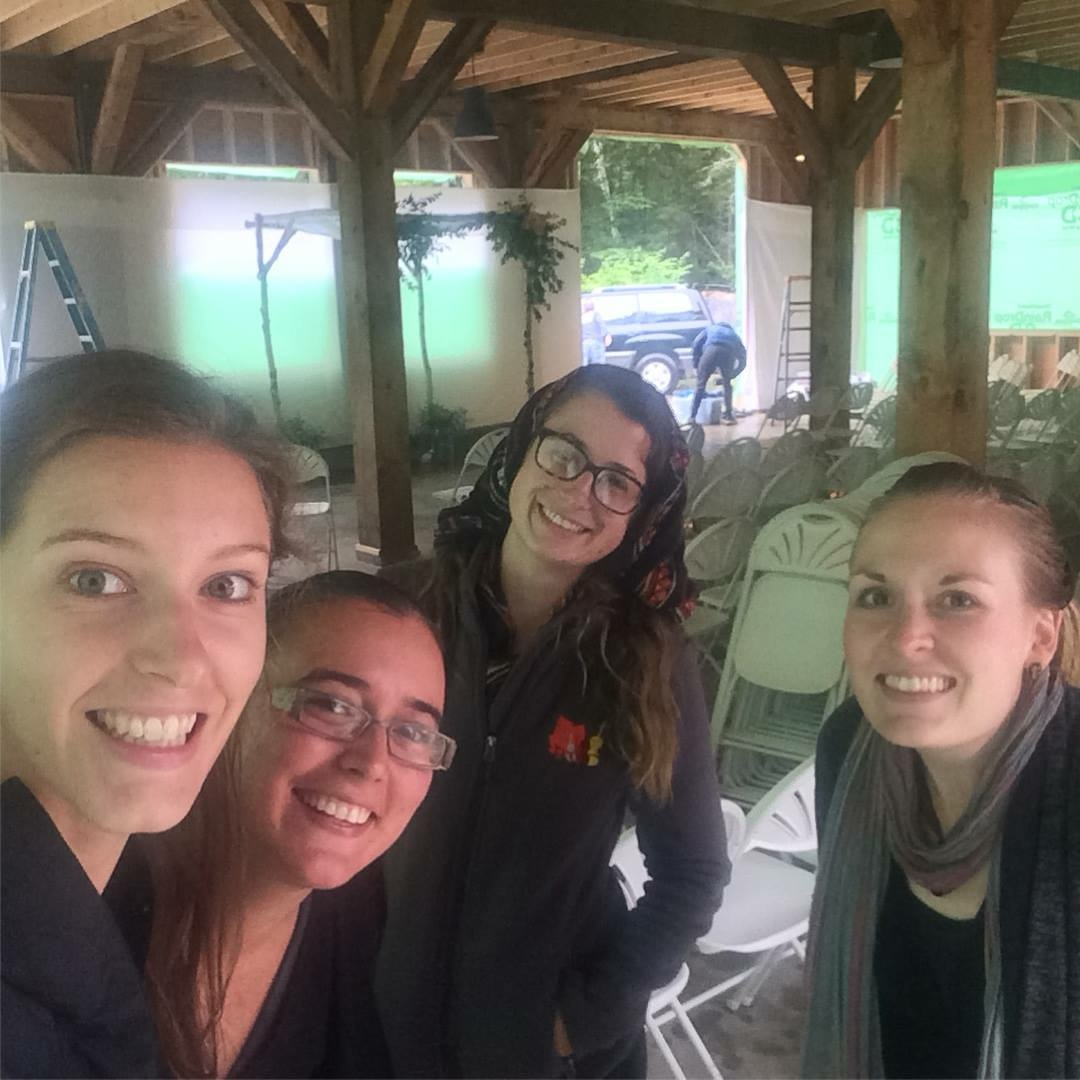 Before playing a wedding in New Hampshire during a torrential rainstorm with ensemble member Caitlin Leffingwell! L-R: Jamie Thiesing, Sylvia DiCrescentis, Brittany Stockwell, Caitlin Leffingwell.