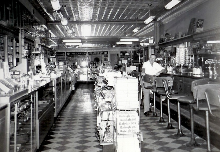 Anderson Drug Store interior in 1951