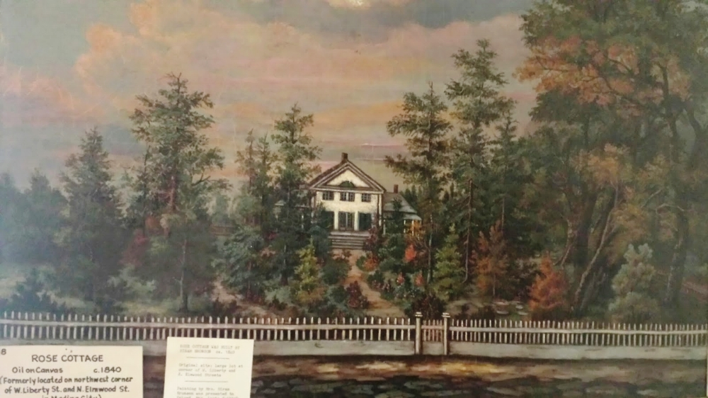 Above is a photo of a painting of the Rose Cottage by Sherman Bronson which currently hangs in the Medina County Historical Society.