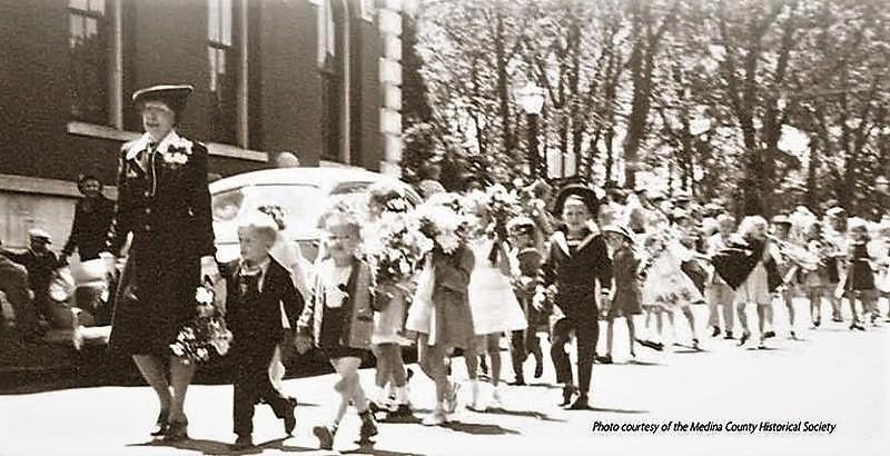 Miss Ella Canavan's Kindergarten Class walking in the 1945 Memorial Day Parade