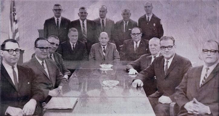 Left to right: Ronald Hall, George Rodgers, Steve Petrigala, Glen Hattery, John Root, Art Roepke, Fred Greenwood, Jack Kinney, Homer Davis, Sr., Robert Jones, Thurston Berry, Harold Rogers, Dale Sigafoos, Harry Van Horsten.