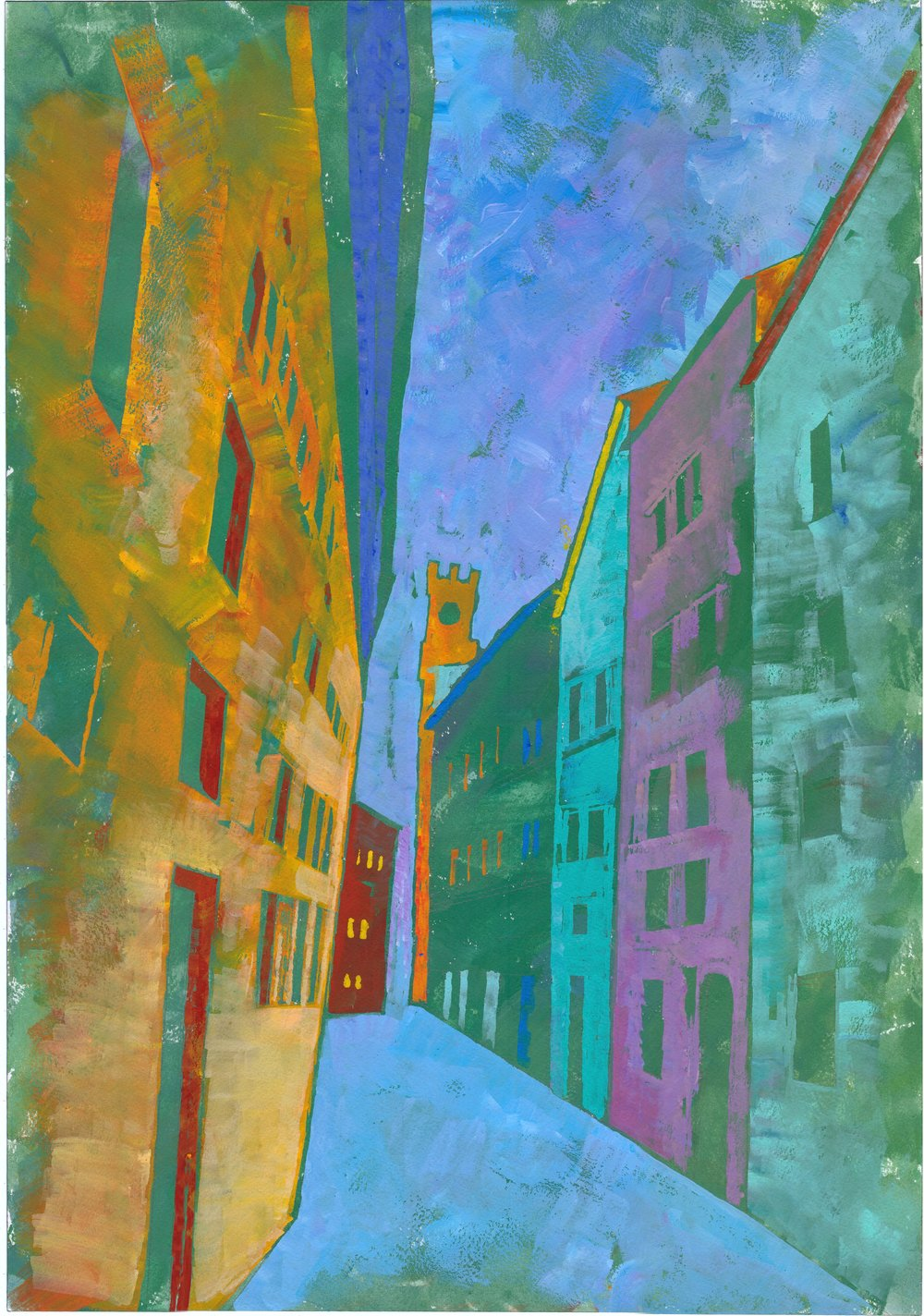 Cerça di Cielo e Terra Searching for Heaven and Earth  Gauche paintings of Cortona inspired by the narrow streets which frame the impression of a path on the earth and views to the sky.