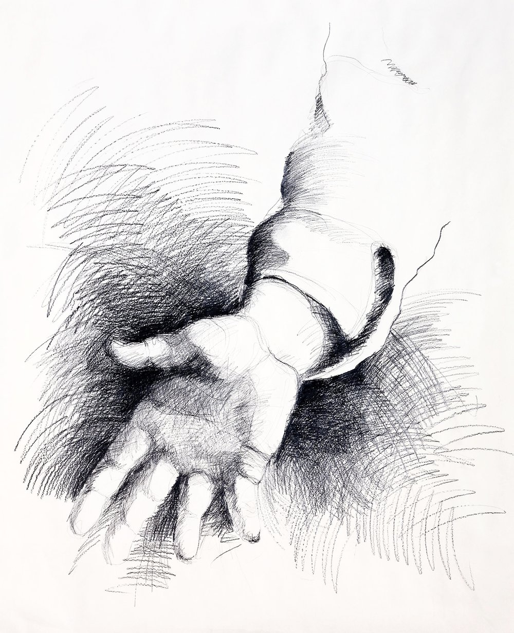 Le Mani di Caravaggio  The hands of Caravaggio  Ink drawings of hands found within the paintings of Caravaggio. The conceit is that they are the preliminary drawings for the paintings which in fact were never done.