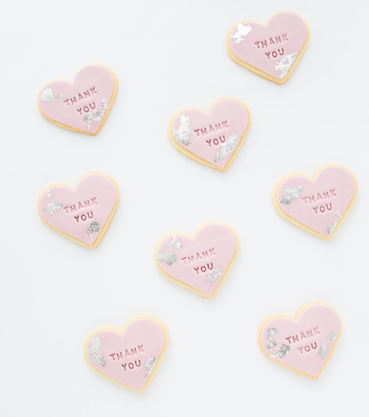 "Silver Leaf ""Thank You"" Cookies"