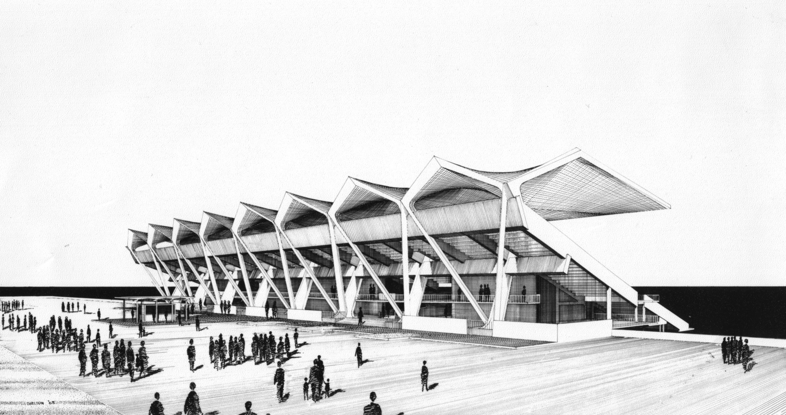 Sketch of Marine Stadium by Hilario Candela