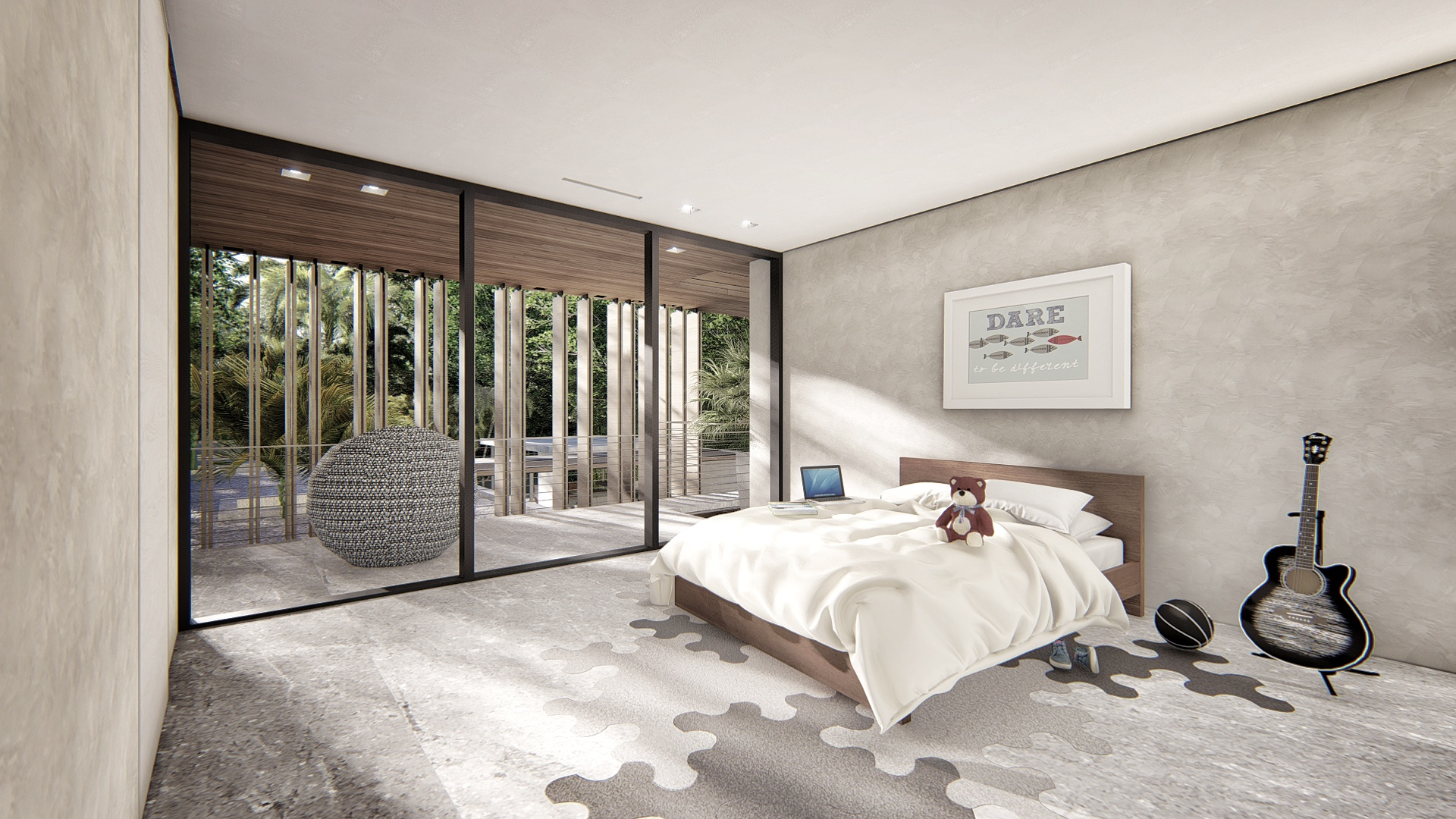 Contemporary Guest Bedroom Coconut Grove Residence by KoDA