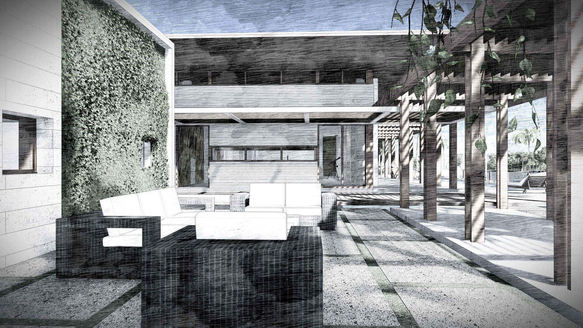 Outdoor Contemporary Courtyard Miami Residence by KoDA