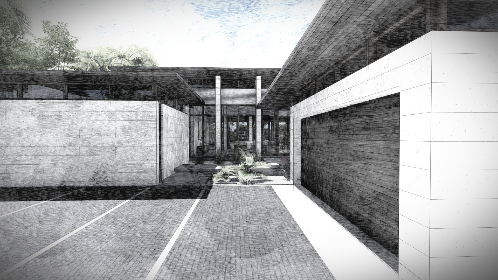 Modern garage and driveway by KoDA Miami