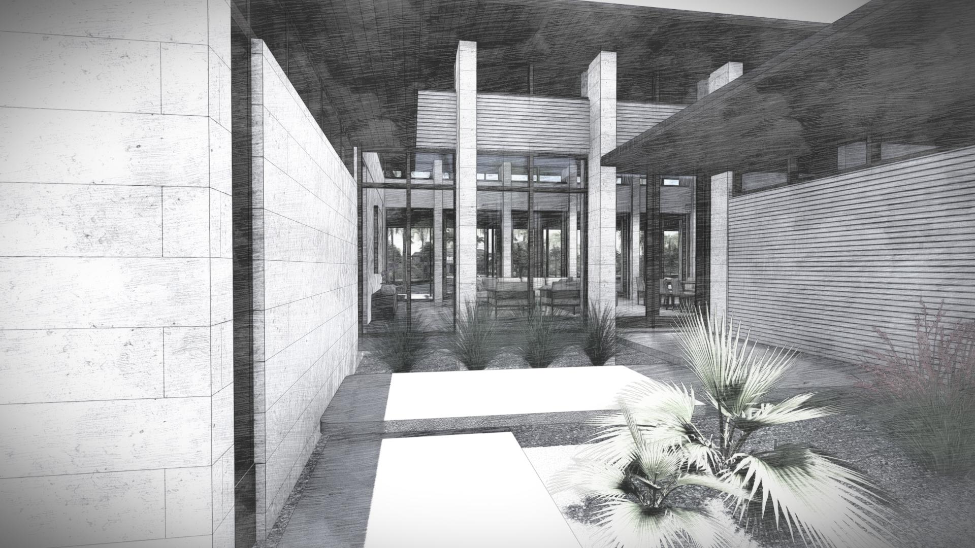 Contemporary Courtyard Miami Beach Home by KoDA