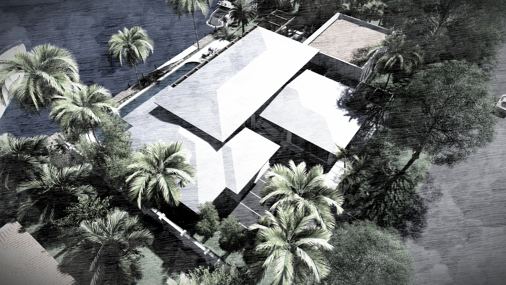 Aerial view of Harbour Beach Miami, FL Contemporary Residence by KoDA Miami