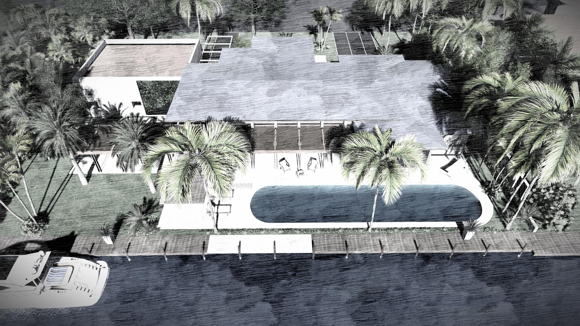 Modern Backyard on the Water by KoDA Miami
