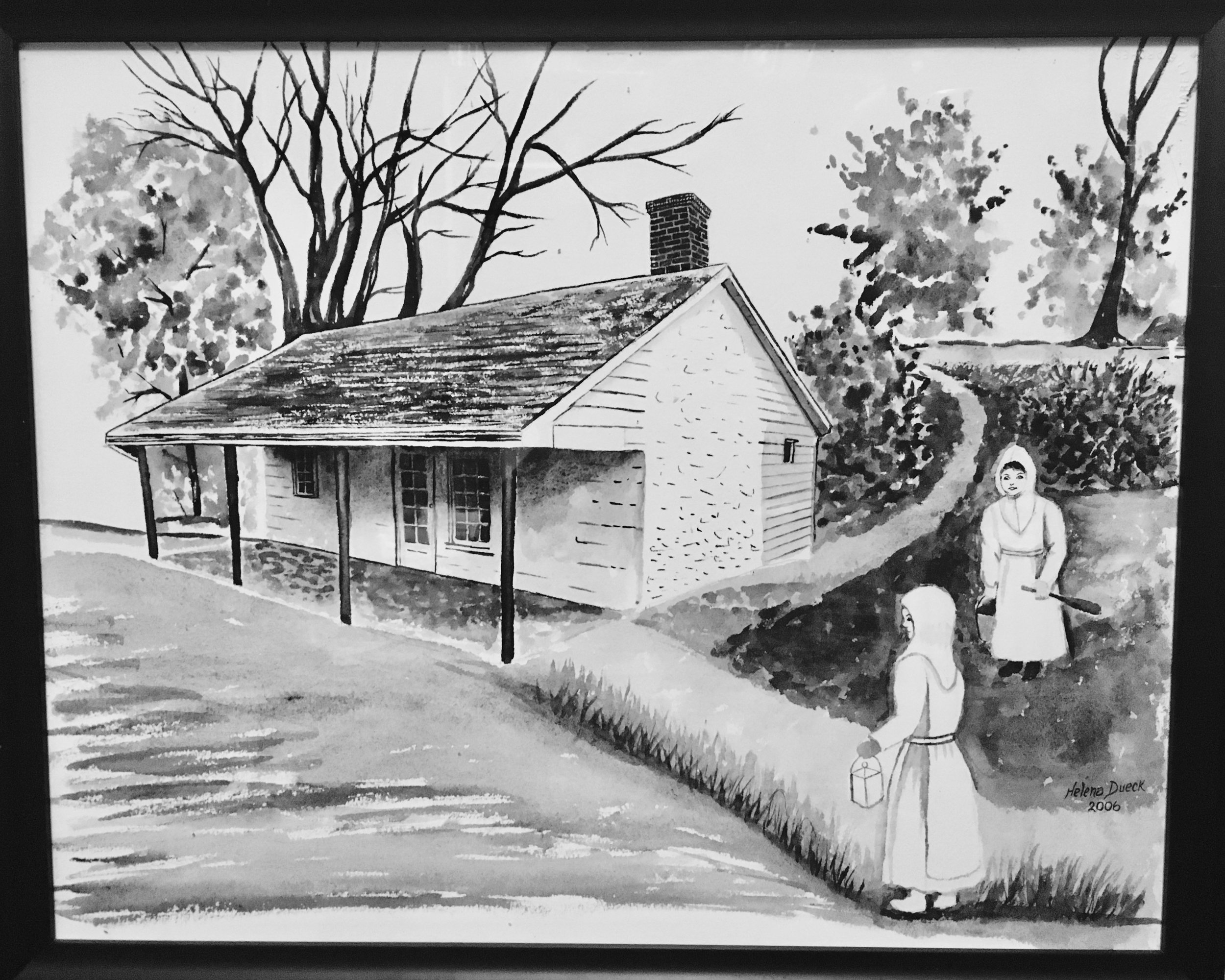 Eicher Sisters' Cabin Painting by Helena Dueck