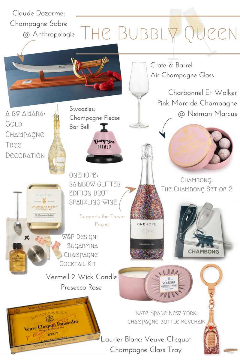 Gold Champagne Tree Decoration  $17   Vermeil 2 Wick Candle Prosecco Rose  $33  Claude Dozorme Champagne Sabre  $598.00  The Chambong Set of 2  $35.00  Veuve Clicquot Champagne Glass Tray  $124.00  W&P Design Sugarfina Champagne Cocktail Kit  $25.00  Swoozies Champagne Please Bar Bell  $12.95  Kate Spade New York Champagne Bottle Keychain  $68.00  ONEHOPE Rainbow Glitter Edition Brut Sparkling Wine  $59.00  Crate & Barrel Air Champagne Glass  $17.95  Charbonnel Et Walker Pink Marc de Champagne Truffles  $28.00