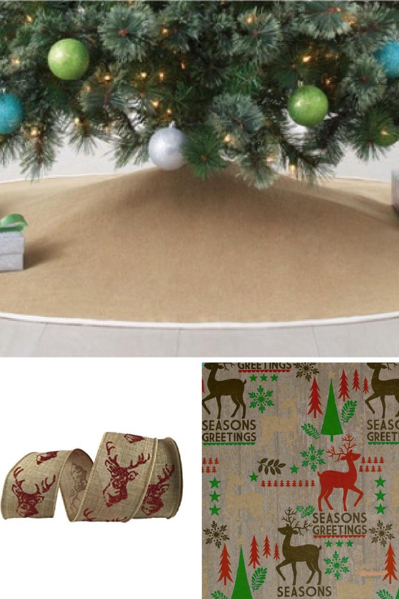 "56"" Burlap Christmas Tree Skirt - Wondershop™ -Target  $30.00  Distressed Deer Gift Wrap By Celebrate It™  $5.99  2.5"" Faux Linen Wired Deer Ribbon By Celebrate It™ Bow-Tique™  - $9.99"