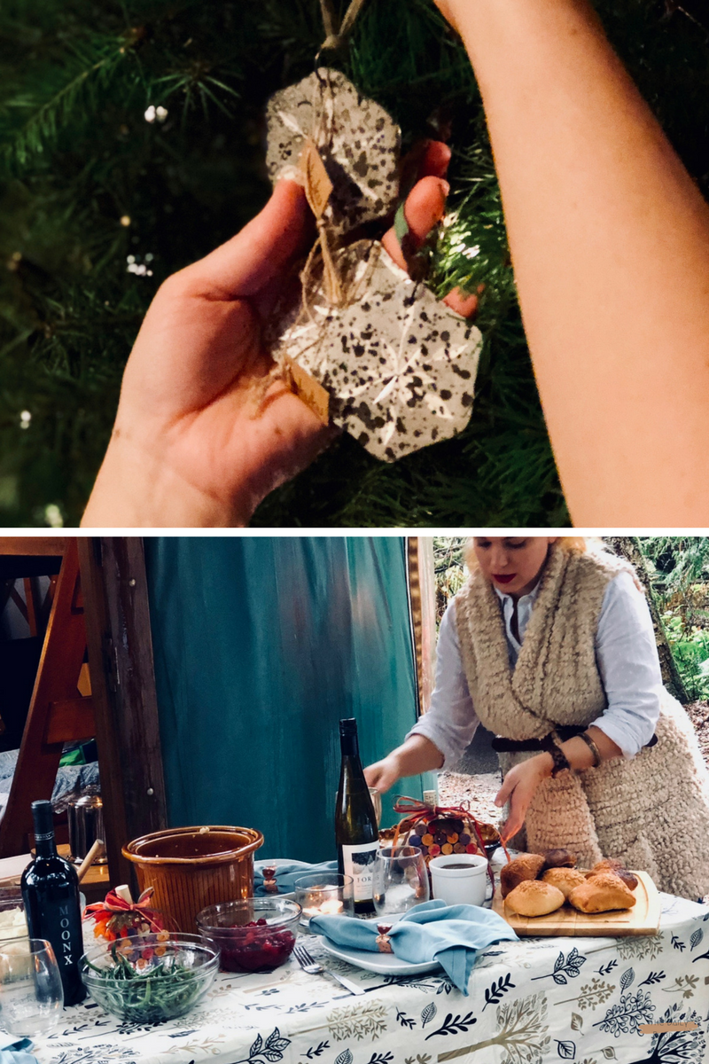 Top to Bottom:   Christmas Ornaments  from Amara Living -  Thanksgiving at a Yurt  in Cape Lookout State Park, OR
