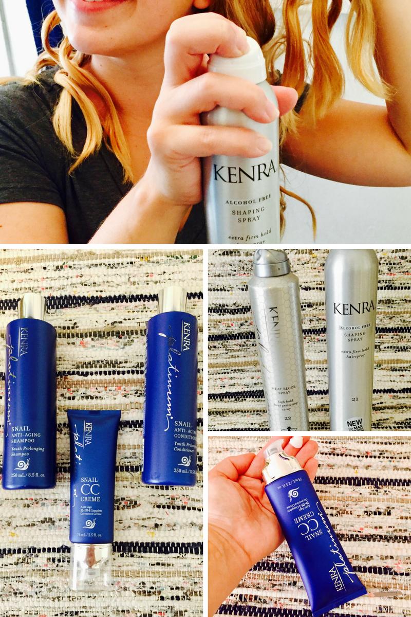 Kenra Professional:  Snail Anti-Aging Shampoo   Snail Anti-Aging Conditioner   Platinum Snail CC Crème   Heat Block Spray 22   Shaping Spray 21