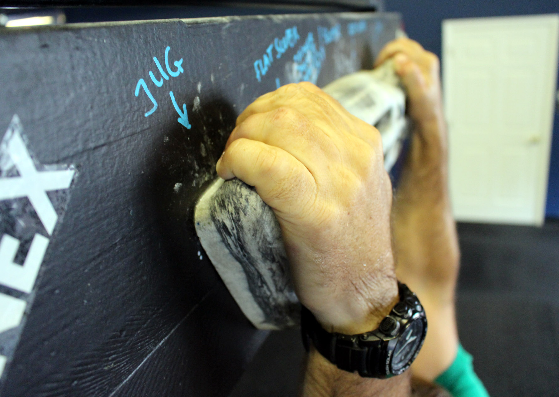 Climbing board (also called Climbing Simulator) to strengthen the grip, pull-ups & upper back