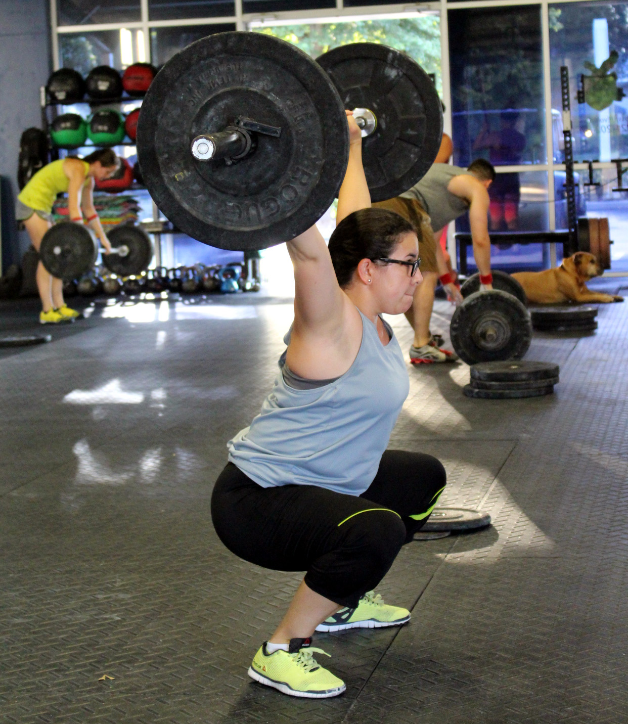 Susel at the bottom of an Overhead Squat