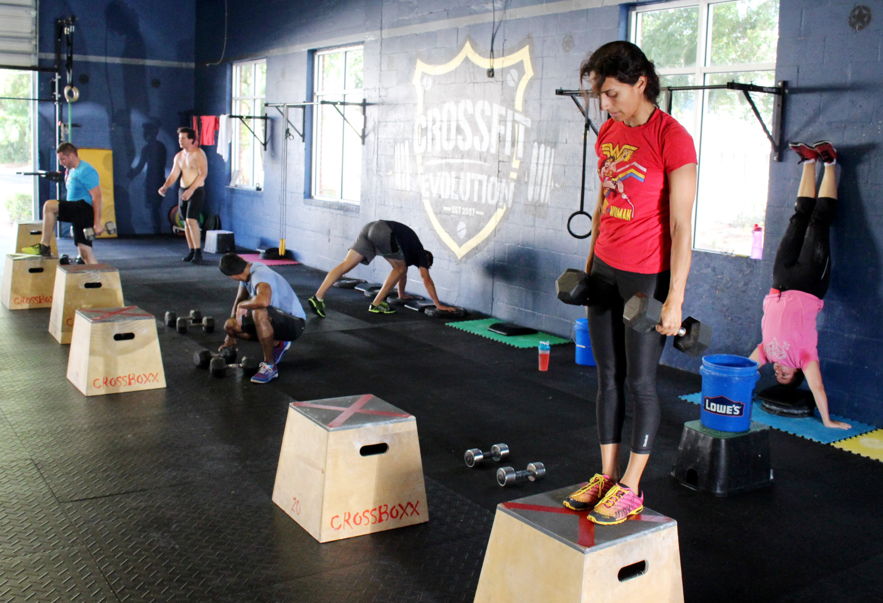 Weighted Step ups & Handstand Push-ups