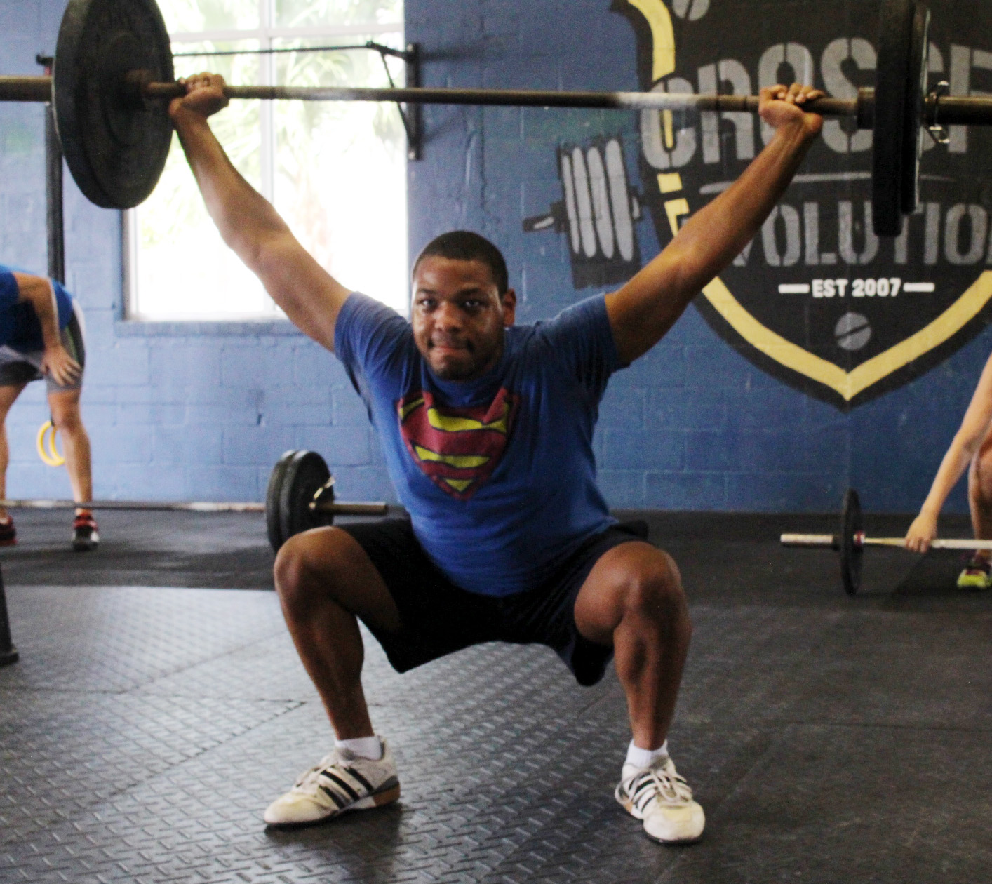 Denzel at the bottom of an Overhead Squat