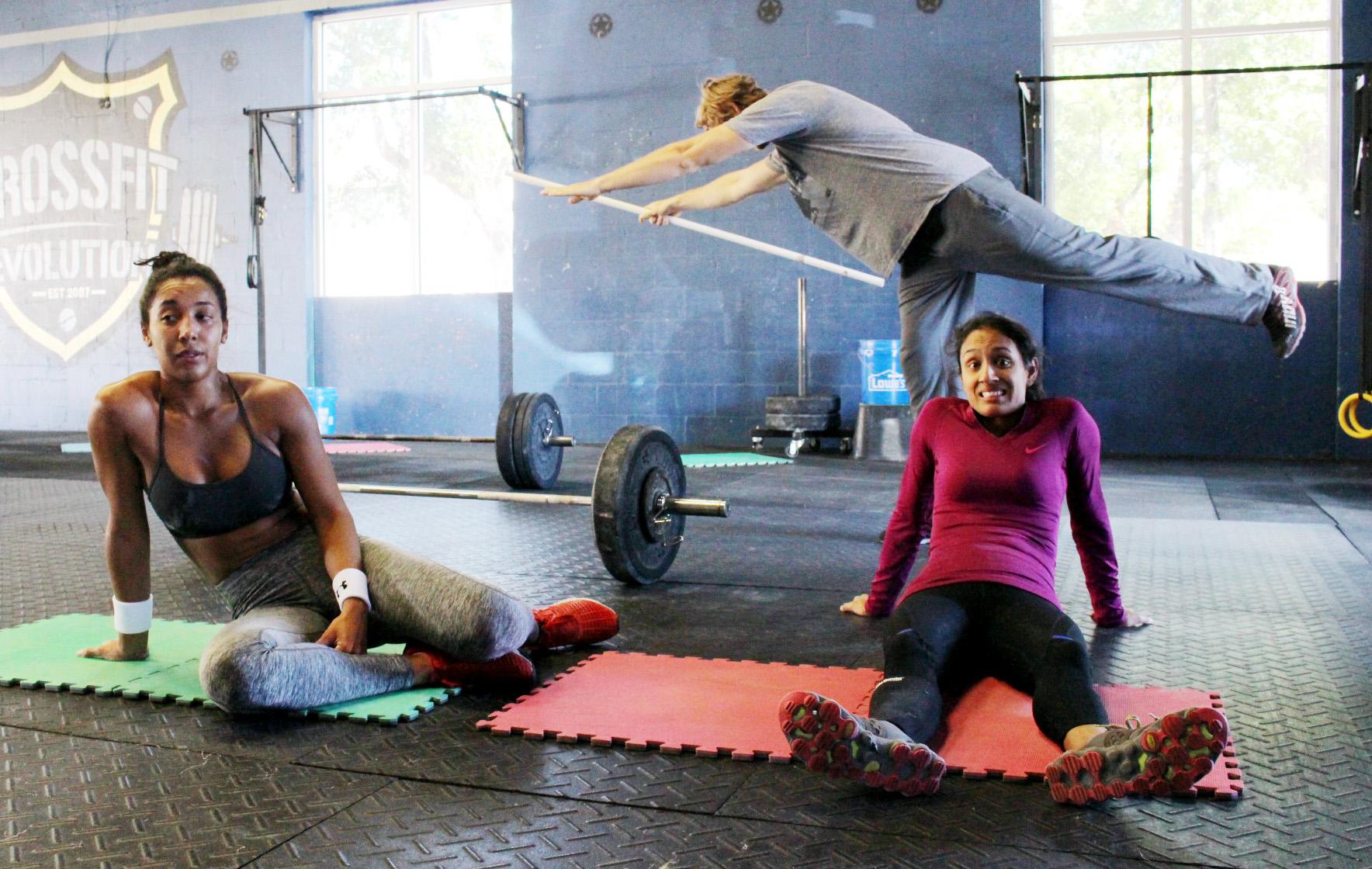 "Rosa & Tejal post ""Hero"" workout, Andrei photobombin'"
