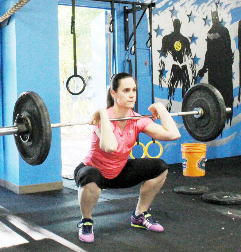 Beth at the bottom of a Front Squat