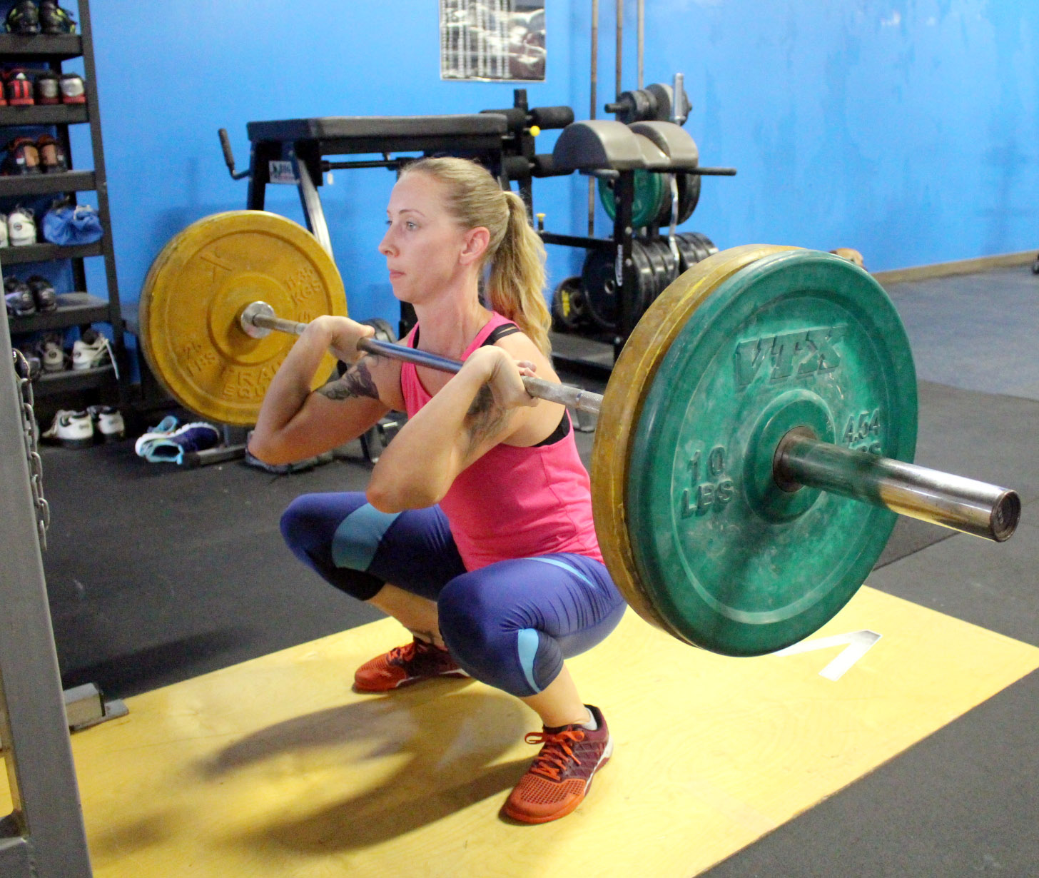 Devon at the bottom of a Front Squat