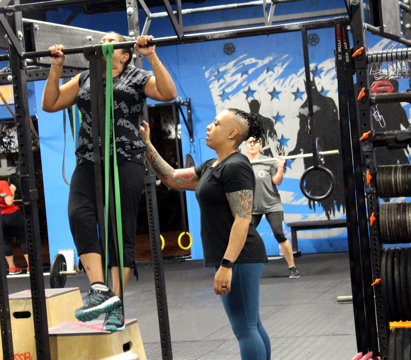 Practicing banded pull-ups
