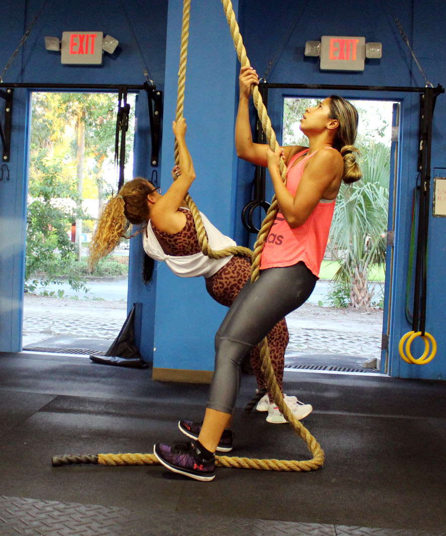 Claudia and Michelle doing Rope Pulls