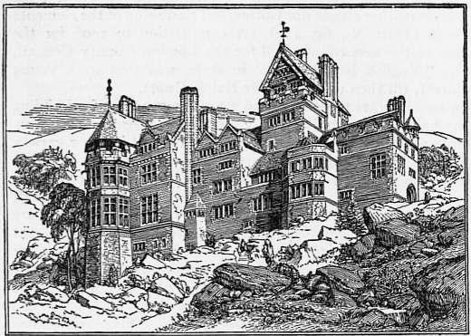 Richard Norman Shaw, Cragside, Rothbury, Northumberland, England,1869,  Illustration from 1911 Encyclopædia Britannica