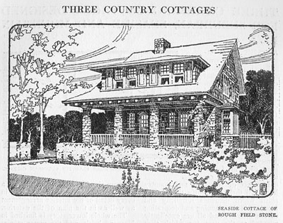 """""""Seaside Cottage of Rough Field Stone,"""" illustration from """"Three charming cottages designed for suburban, seaside and mountain life,""""  Craftsman ( Gustav Stickley,ed.),  Vol. XIV, Number 6 (September 1908) ,  pp. 657-662."""