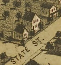 D etail of the Damon-Ash Home from a n Aerial View Map of Adrian, Michigan, drawn and published by A. Ruger, 1866.