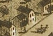 House at 312 Dennis Street, where the Cocker House now sits, as seen in the  1866 map of Adrian .