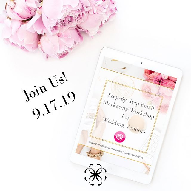 """✨FOR ALL OUR WEDDING INDUSTRY FRIENDORS✨  Join us as Rachele from @wrightoutcomes gives us a step-by-step guide on how to build out an email plan that actually works in an industry where so many of our clients just come to once and move on! • Join us Tuesday, September 17th from 6:30 pm – 8:30 pm as Rachele presents """"Step-By-Step Email Marketing Workshop for Wedding Vendors"""". .  As a bonus Rachele will share her complete Email Marketing Strategy Guide with us!👍 . ✨September's Collective Chat is open to all creatives wishing to learn more about#EmailMarketingfor their wedding and event business!✨ .Space is limited so be sure to register early by visiting our website www.thecollectiveeventstudio.com/studio-events#linkinprofile .Collective Chats are free for our studio members and $15.00 for non-members! Not a member? Visit our website to learn how you can become a studio member! .We look forward to seeing our Wedding Professional Friendors and learning all things#EmailMarketing 😀And yes…there will be goodies!!🍇🍓🍪☕️"""